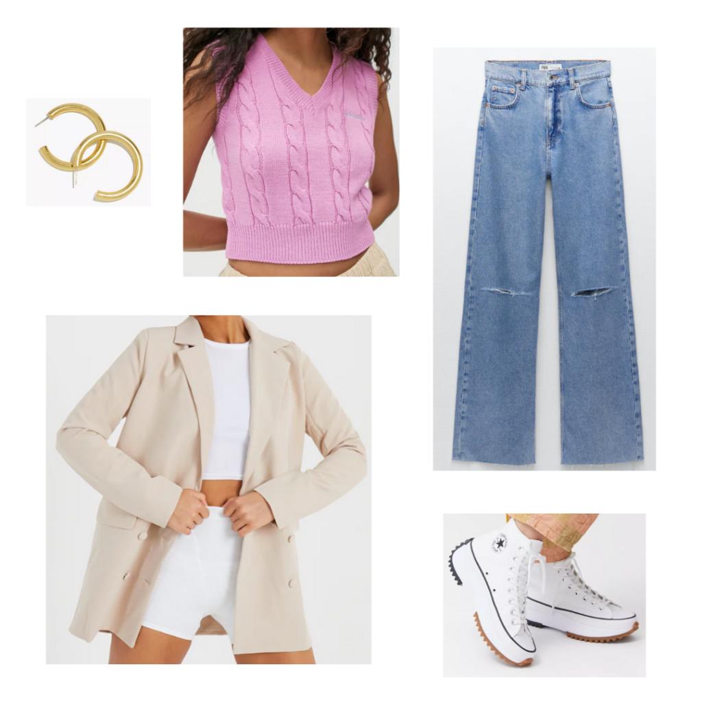 Sweater vest outfit with pink sweater vest, wide leg jeans, oversized beige blazer, chunky platform Converse, hoop earrings