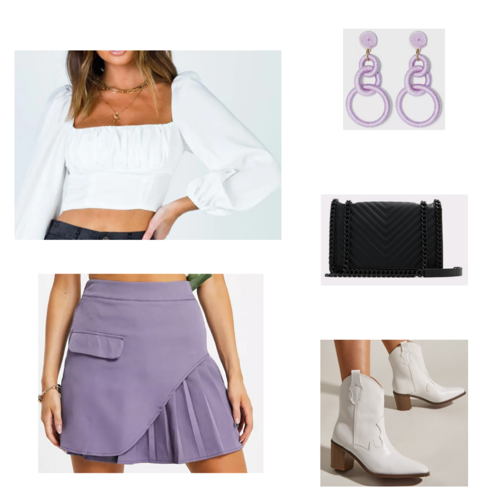 Lavender outfit for fall with lavender mini skirt, white cowboy boots, white cropped puff sleeve top, lavender earrings, black purse