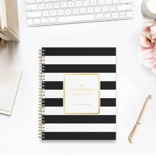 Day Designer Planner, black and white stripes