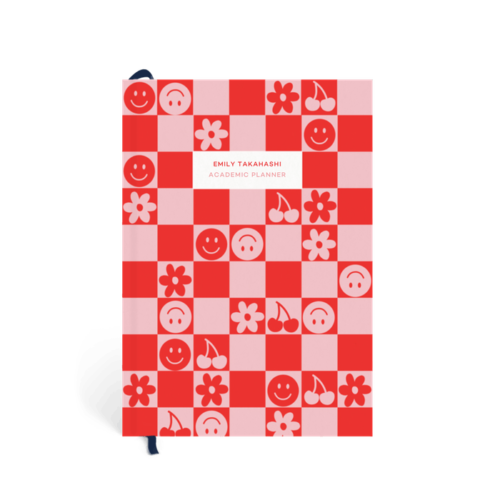 Customizable red and pink checkered planner from Papier, best planners for college