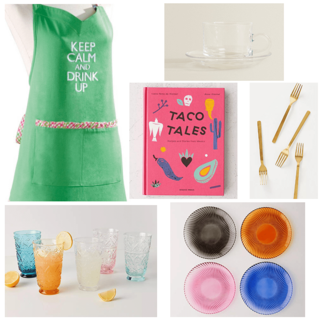 Kitchen Ideas - green Keep Calm and Drink Up apron, taco cookbook, clear glass mug and saucer, gold silverware, colorful water glasses, colorful glass plates