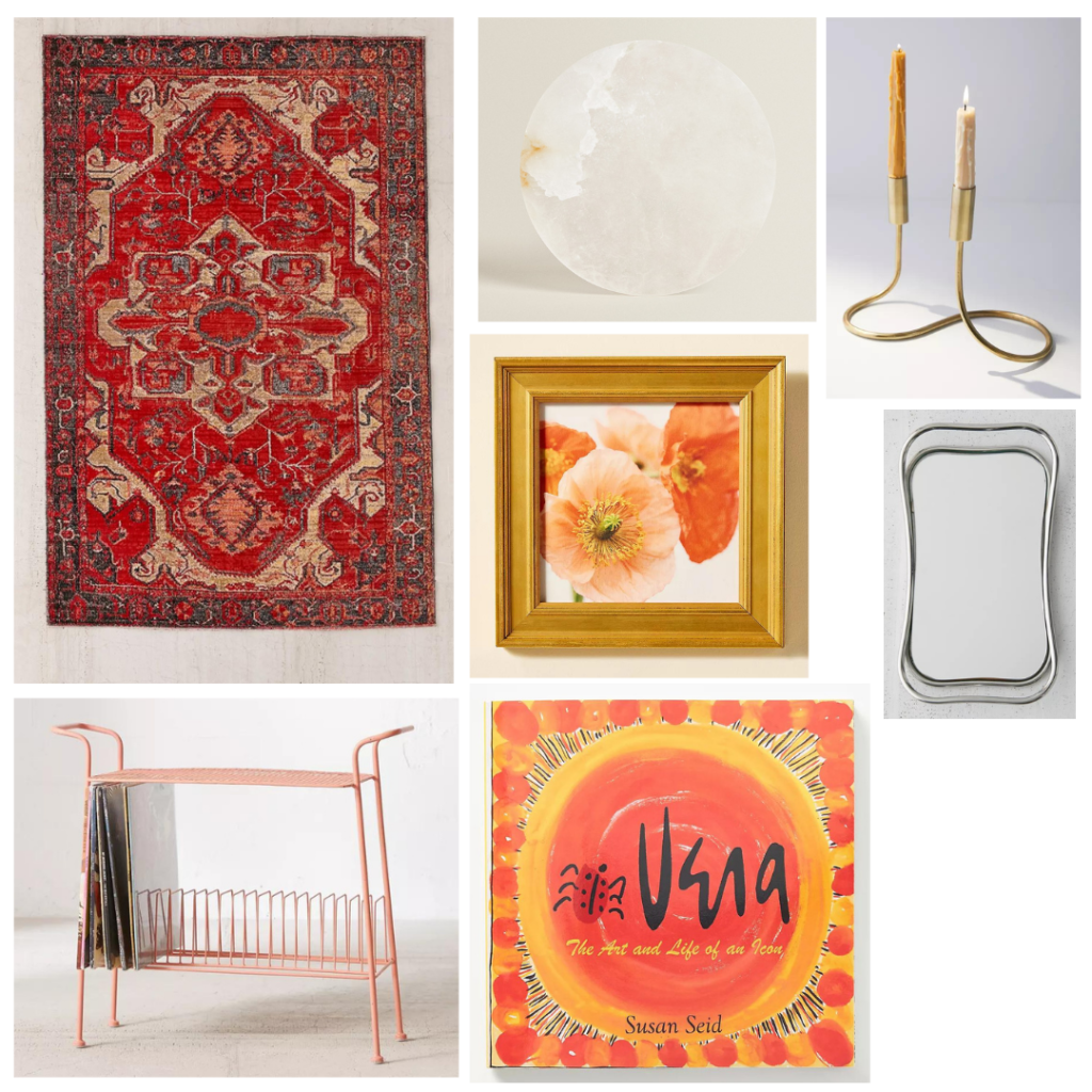 First Apartment Decor: Living Room - red tapestry rug, gold frame, decorative candle holder, silver tray, rosegold record shelf