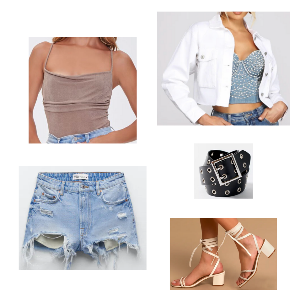 City Girl Outfits 9 - Inspired by Miami: taupe bodysuit, short white denim jacket, distressed denim jeans, black and silver belt, chunky heeled sandals