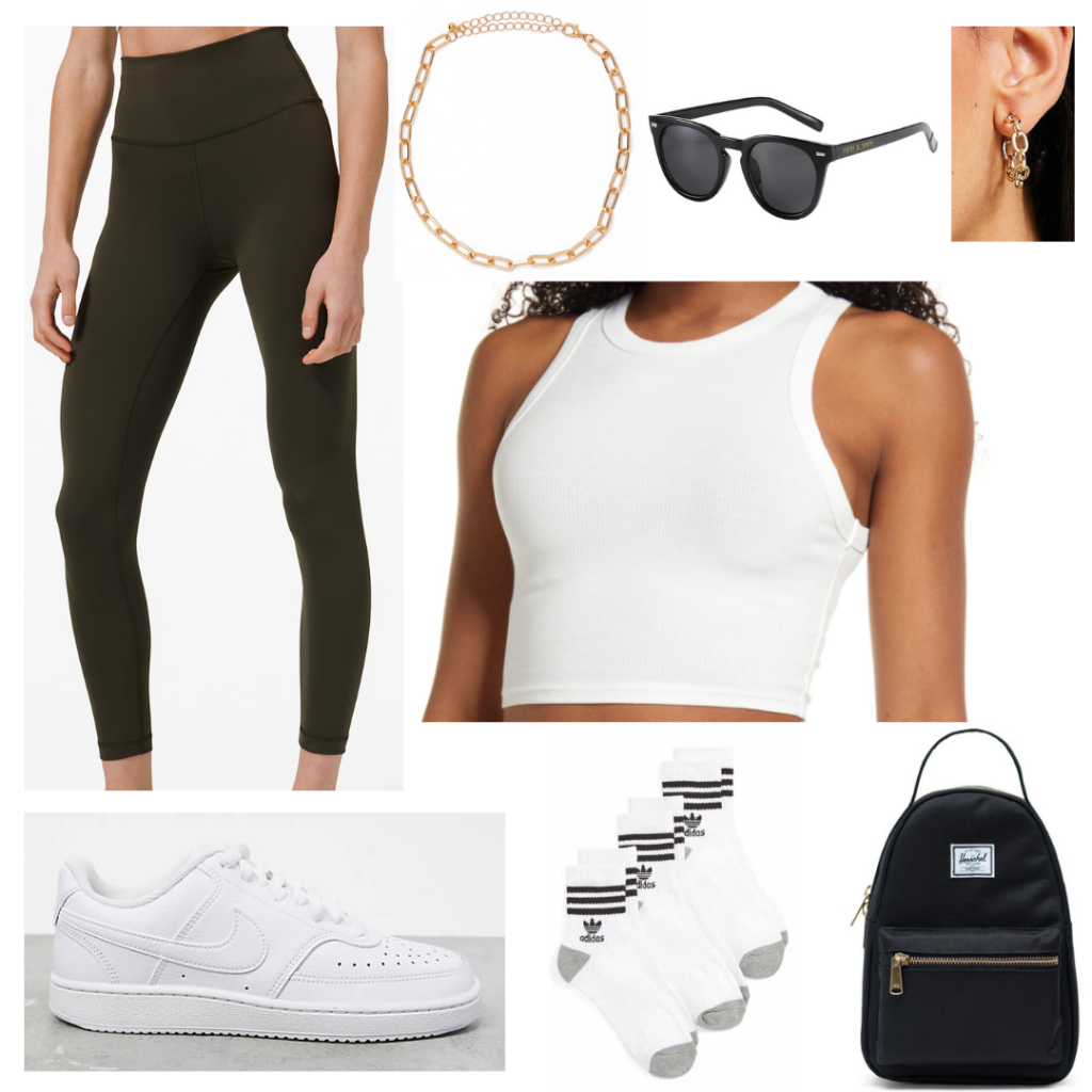 What to wear for the first week of school: Casual outfit idea with black leggings, white crop top, ankle socks, Nike sneakers, black backpack, necklace and sunglasses