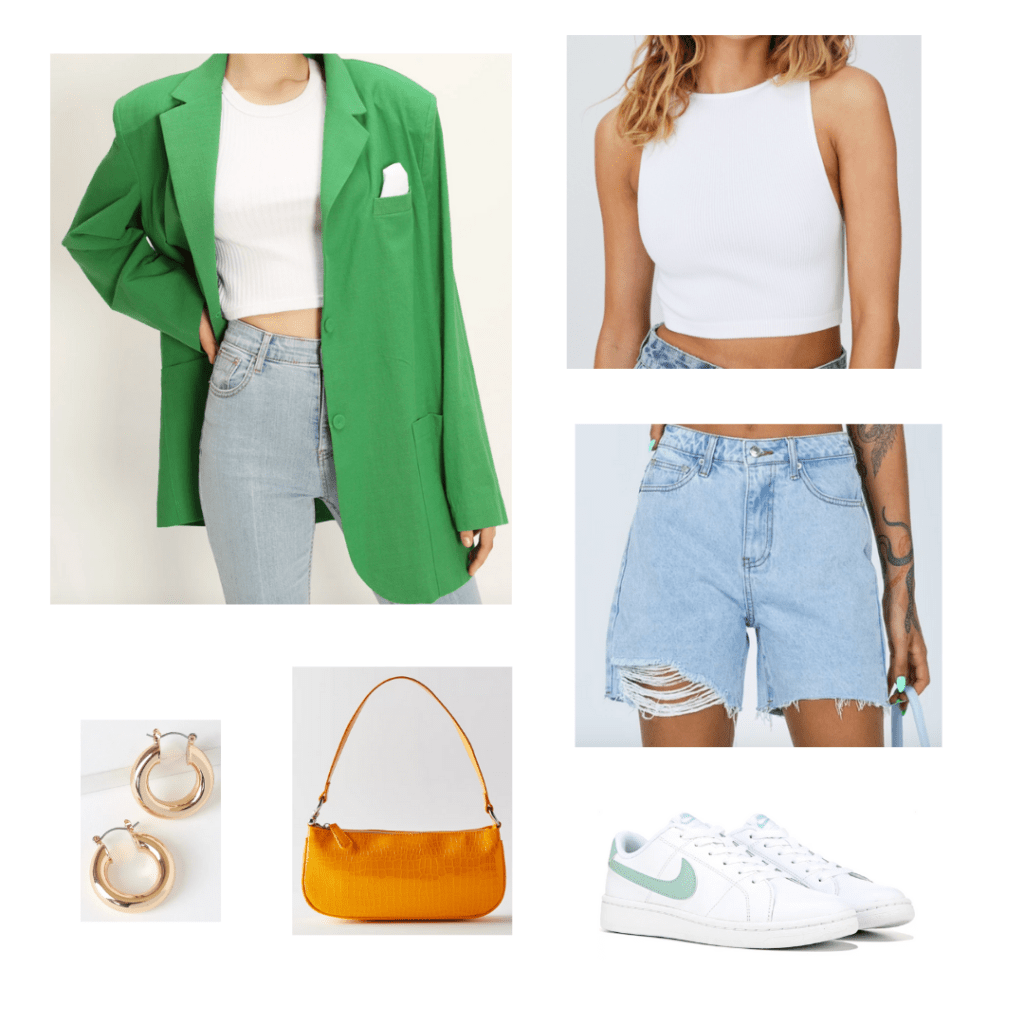 City Girl Outfit 1 - Inspired by New York City: oversized green blazer, white high neck crop tank, distressed mom jean bermuda shorts, orange shoulder bag, white nike sneakers, gold chunky hoop earrings
