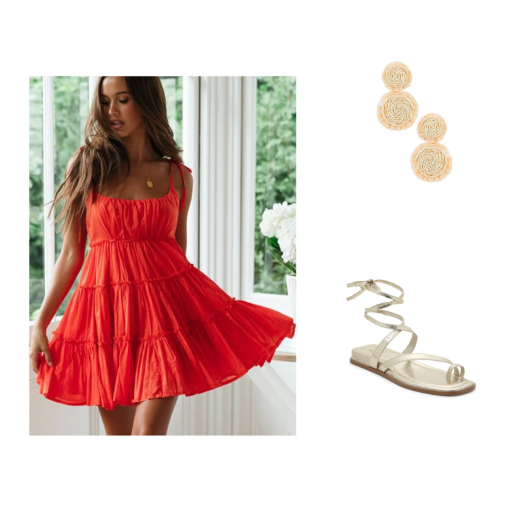 Sorority Rush Outfit for Open House Round - red flowy sundress, gold lace up sandals, nude earrings