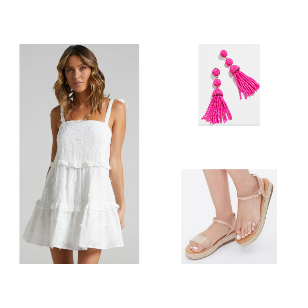 Sorority Rush Outfit for Open House Round - white dress with ties, sandals with clear strap, pink beaded earrings