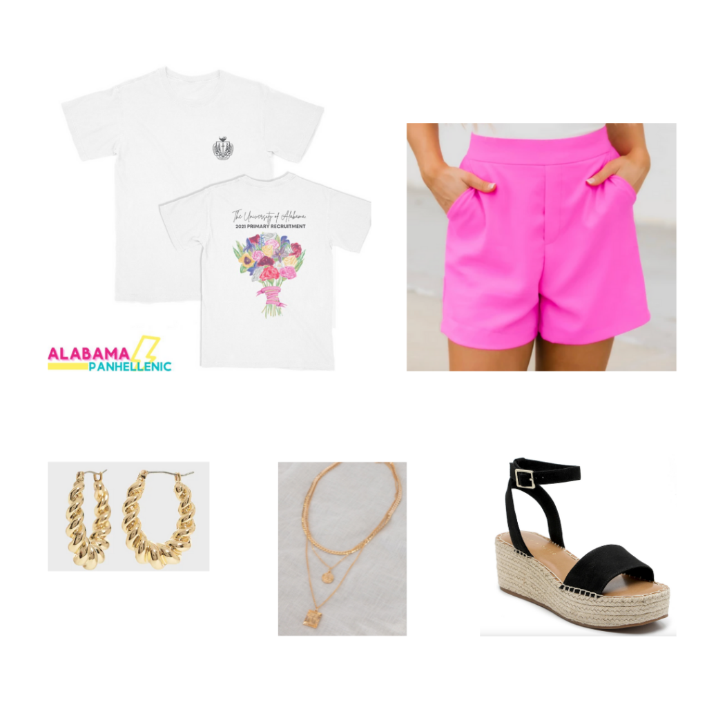 Sorority Rush Outfit for Philanthropy Round - hot pink shorts, gold earrings and necklaces, espadrille wedges with black straps