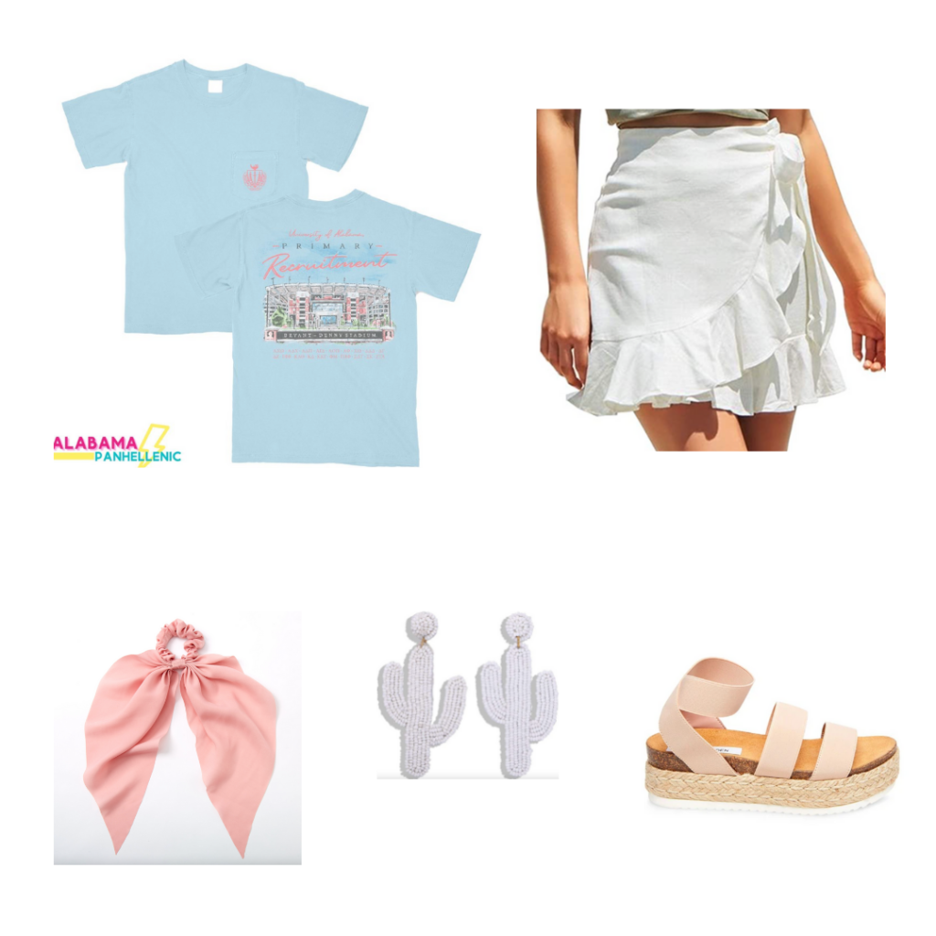 Outfit for Philanthropy Round - white wrap skirt, flatform espadrille sandals, beaded cactus earrings, pink scrunchie with tie