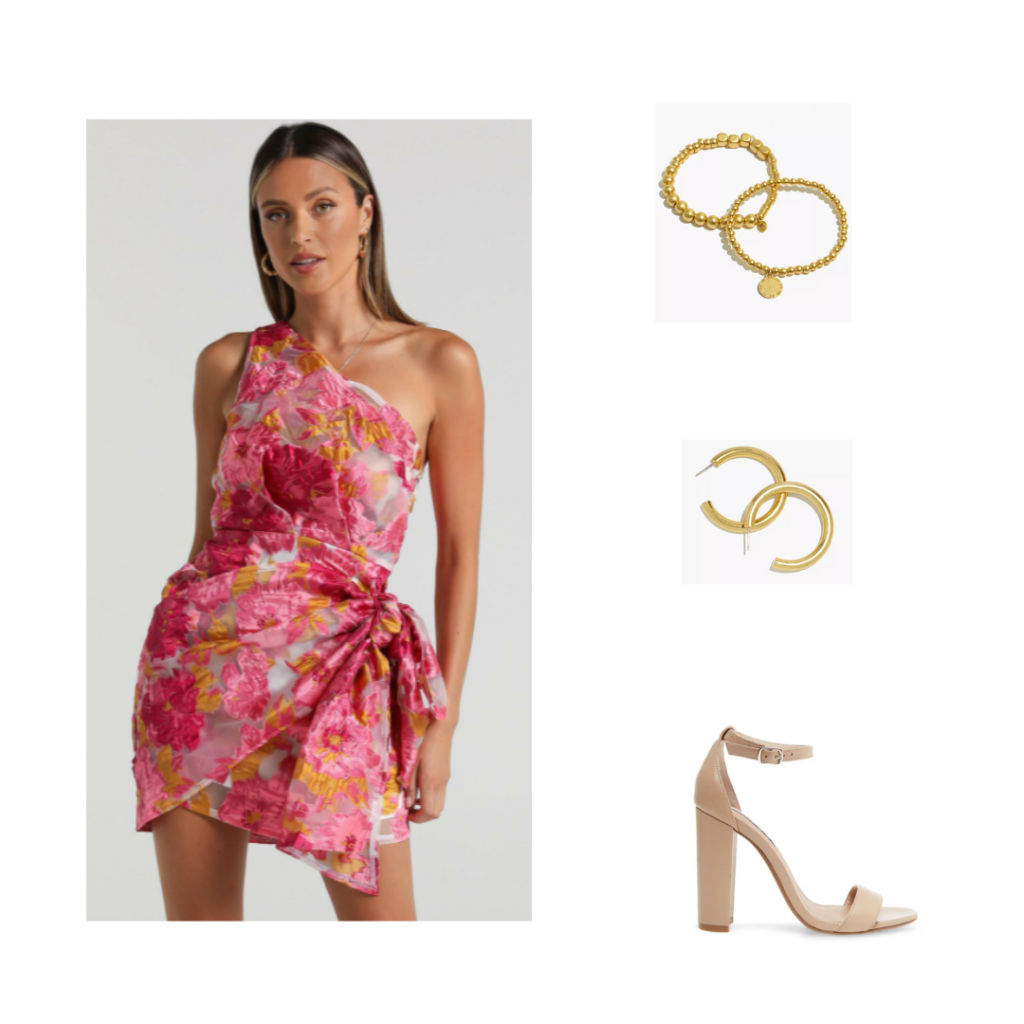 Sorority Rush Outfit for Preference Round - one shoulder pink wrap dress, gold jewelry, nude chunky heels