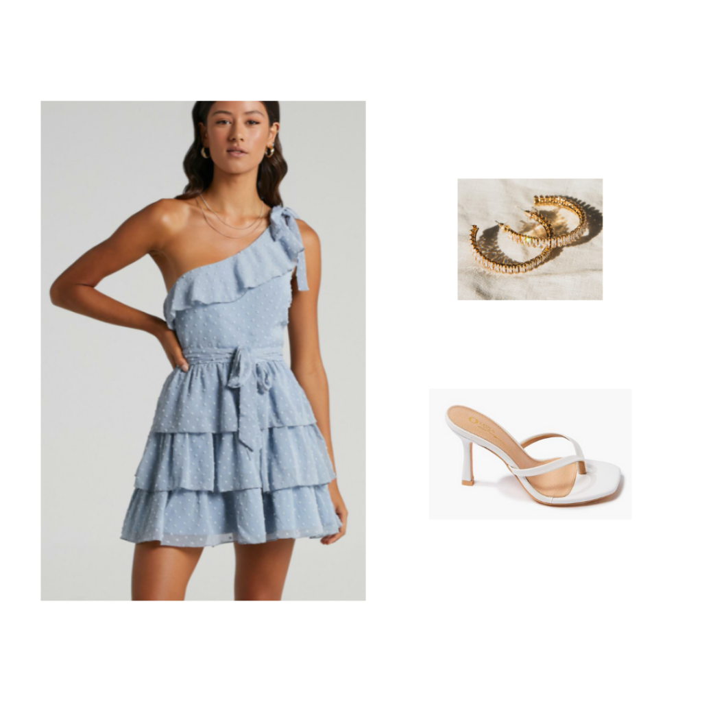 Outfit for Preference Round - one-shoulder ruffled baby blue dress, white heels, gold hoop earrings