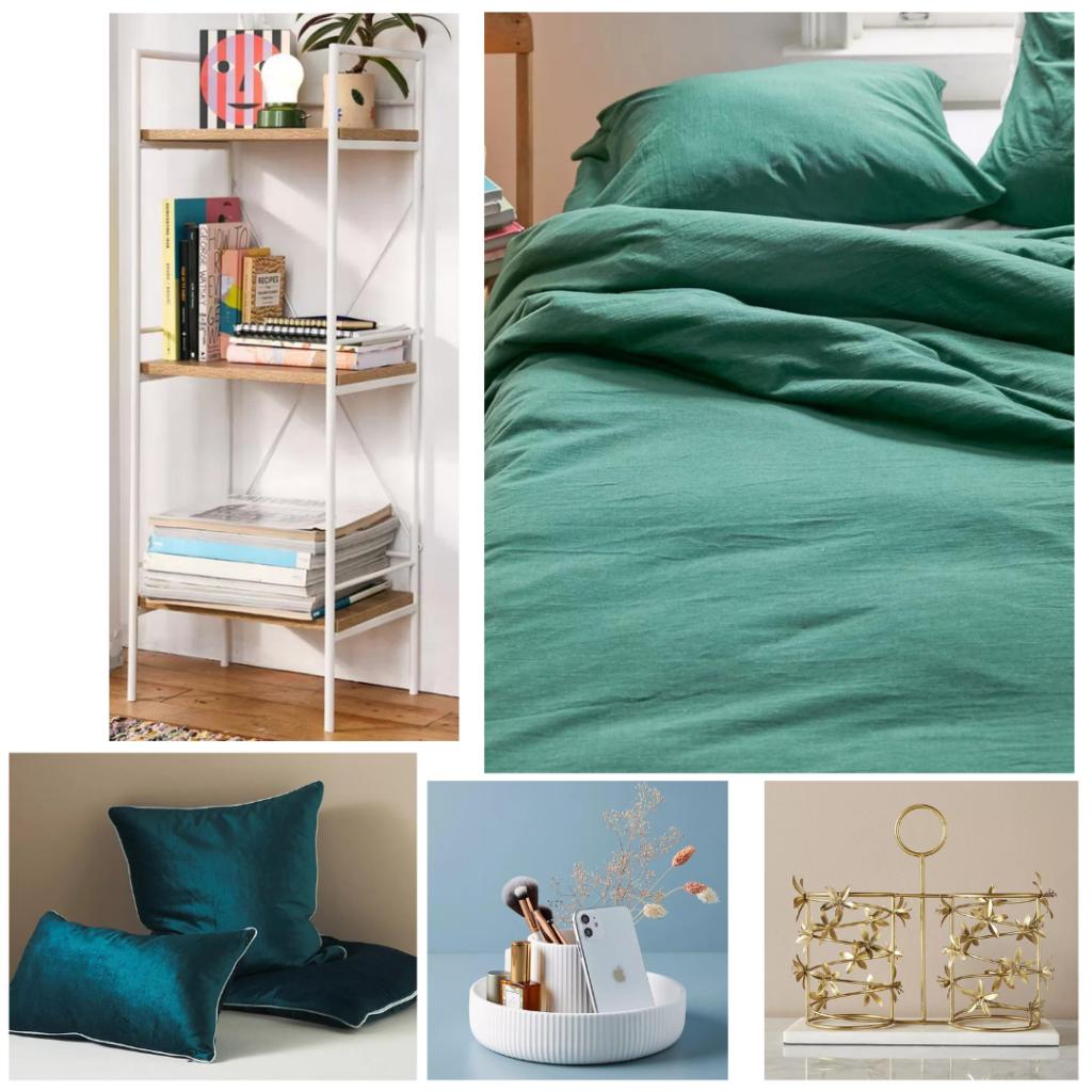 Room decor ideas - white bookshelf with wood shelves, emerald green bedding, blue velvet pillows, white caddy tray, gold wine rack
