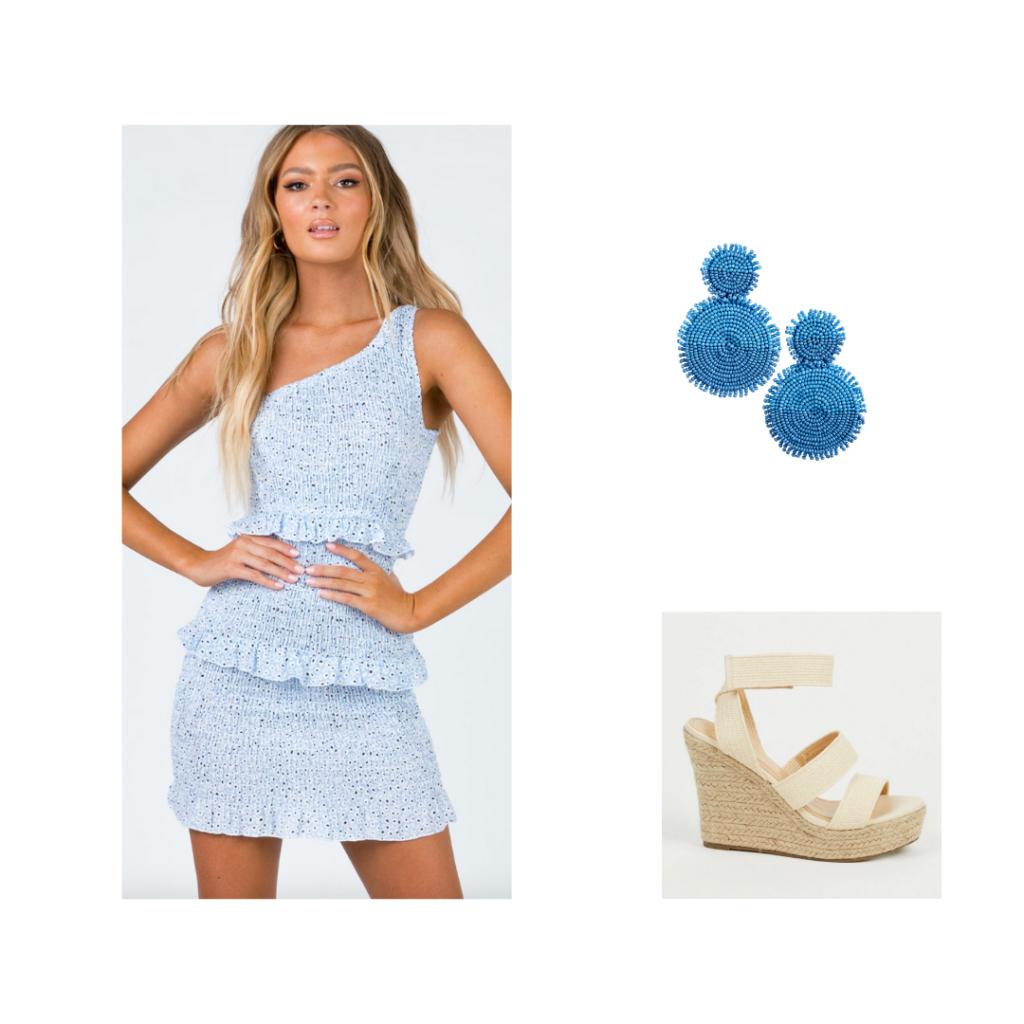 Sorority Rush Outfit for Sisterhood Round - one-shoulder baby blue elastic dress, beaded earrings, nude wedges