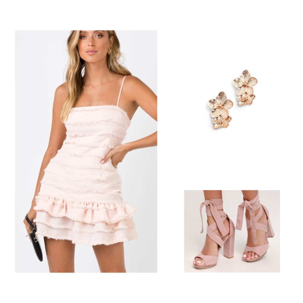 Outfit for Sisterhood Round - blush pink mini dress, lace-up wrap pink heels, simple gold earrings