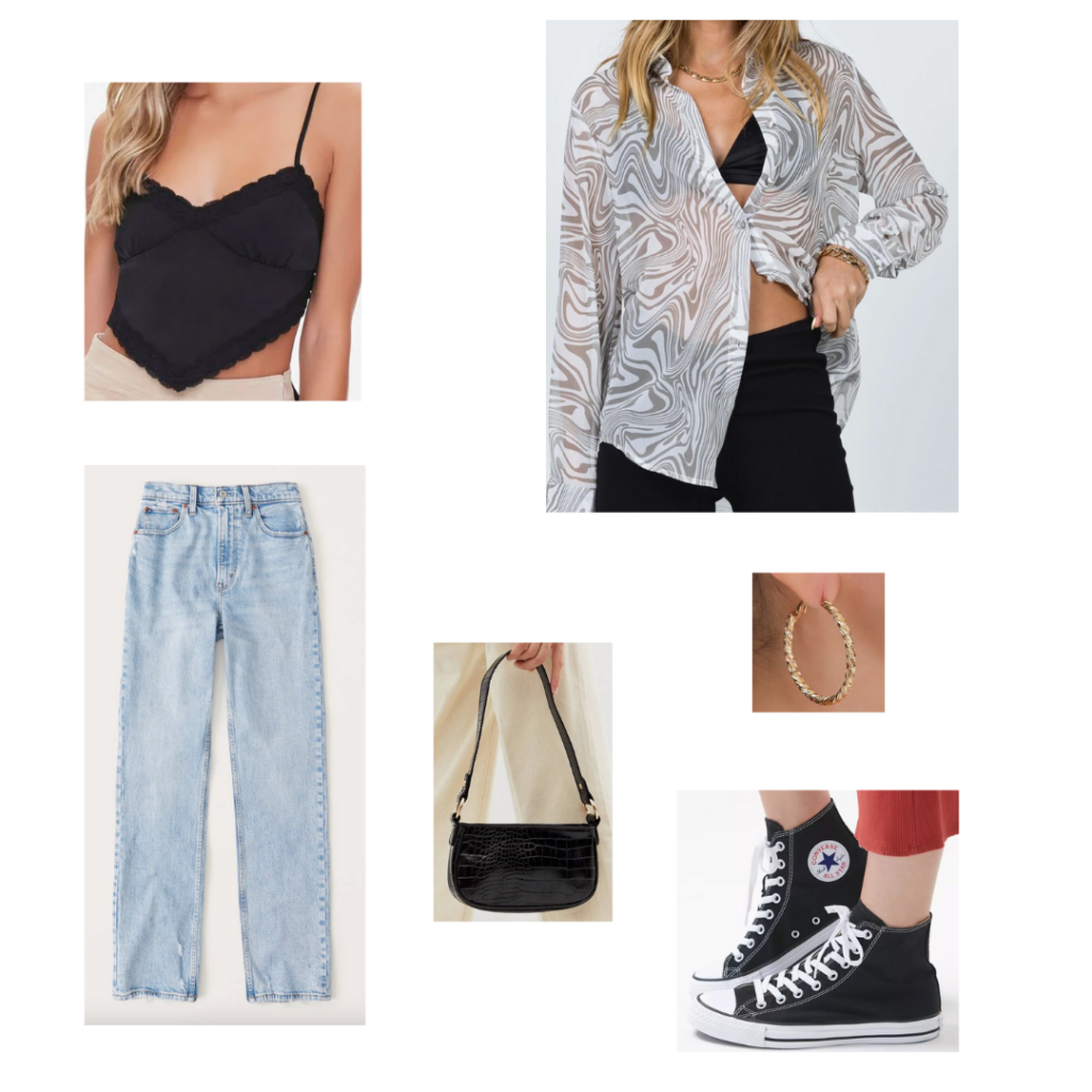 City Girl Outfits 7 - Inspired by Las Vegas: black spaghetti strap cami, sheer white button up top, oversized mom jeans, converse high top sneakers black shoulder bag, gold hoop earrings