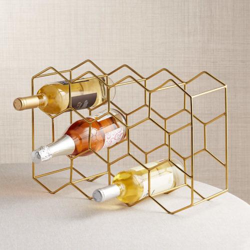 Gold hexagonal wine rack