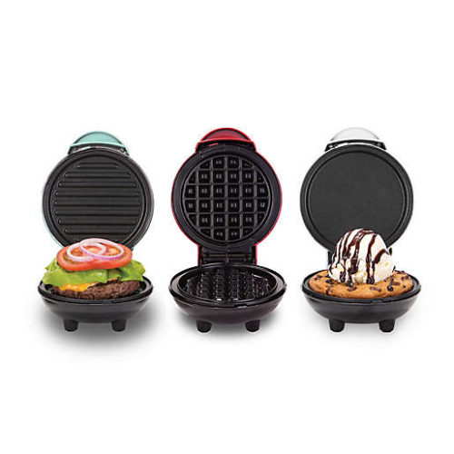 3-way food griddle for sandwiches, waffles, pancakes, and more.