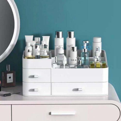 Countertop makeup bathroom organizer in white