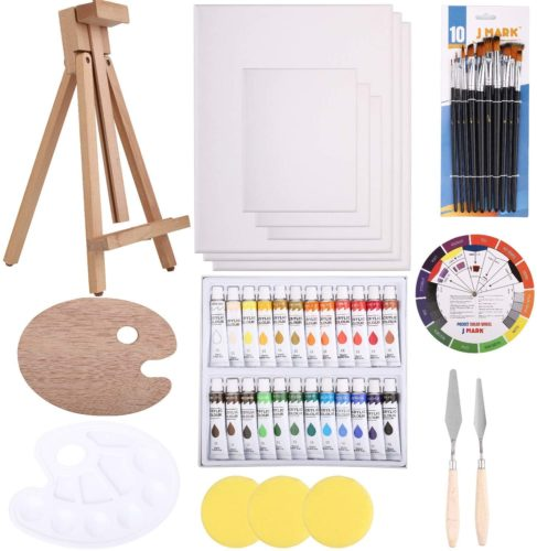 Painting kit with mini easel, palette, paints, brushes, and canvas