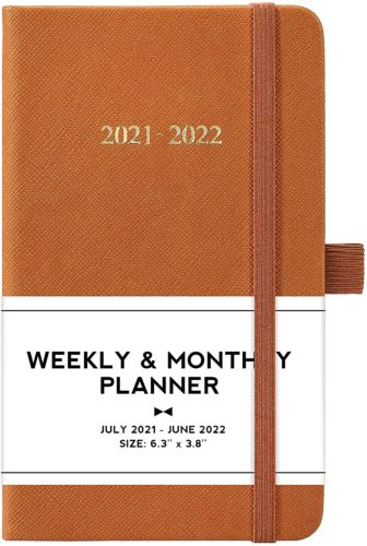 Brown weekly and monthly planner with elastic closure strap