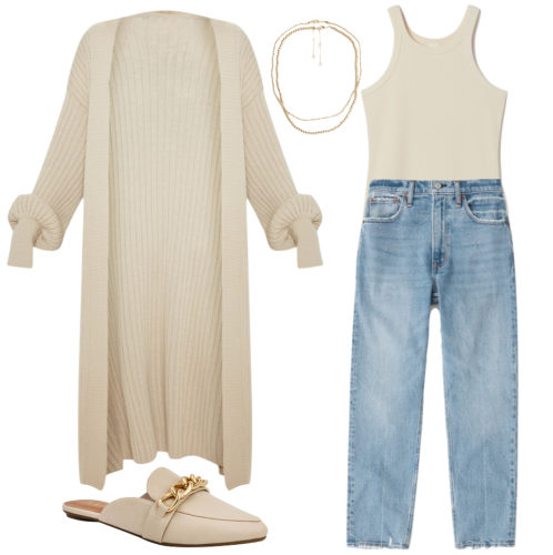 Casual outfit with jeans: Mom jeans, bodysuit, longline cardigan, slip-on mules, necklaces