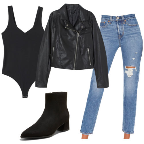 Casual Nighttime Outfit with jeans, black bodysuit, ankle boots, black leather jacket