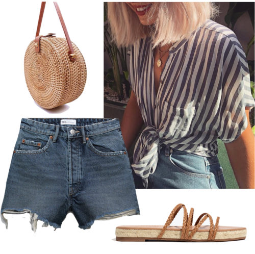 Casual outfit with shorts: Ripped denim shorts, striped button-down shirt, sandals, woven bag
