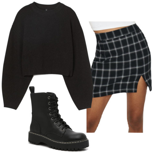 Casual outfit with a skirt: Black and white checkered skirt, oversized black sweater, combat boots