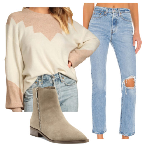 Casual outfit with a sweater: Ripped mom jeans, low heel suede ankle booties, printed sweater