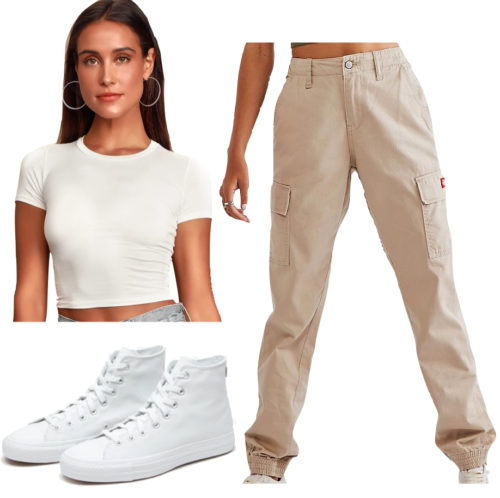 Casual outfit with a t-shirt: Cropped t-shirt, wide leg pants, sneakers