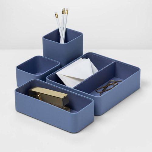 Blue desktop organizer trays