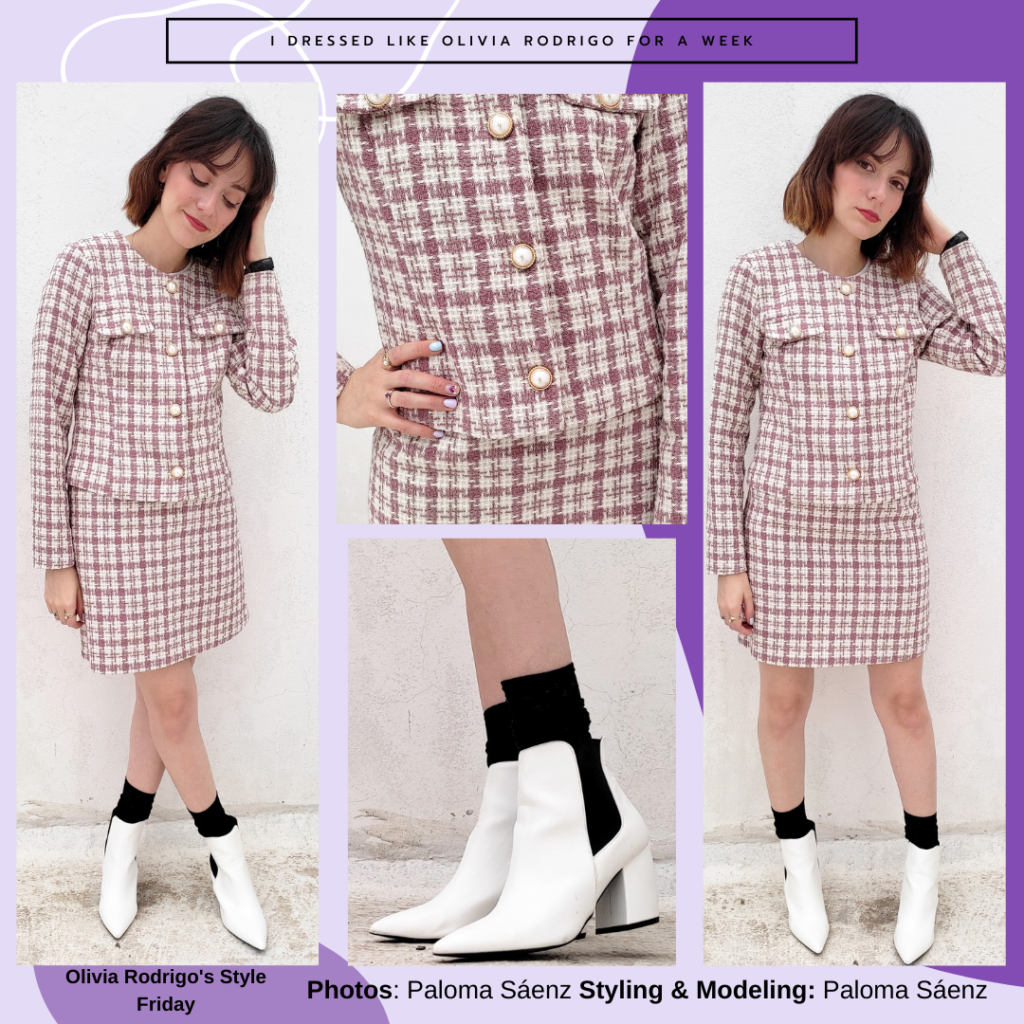 Outfit inspired by Olivia Rodrigo's style at the White House: Pink plaid matching skirt and jacket, black socks, white ankle booties