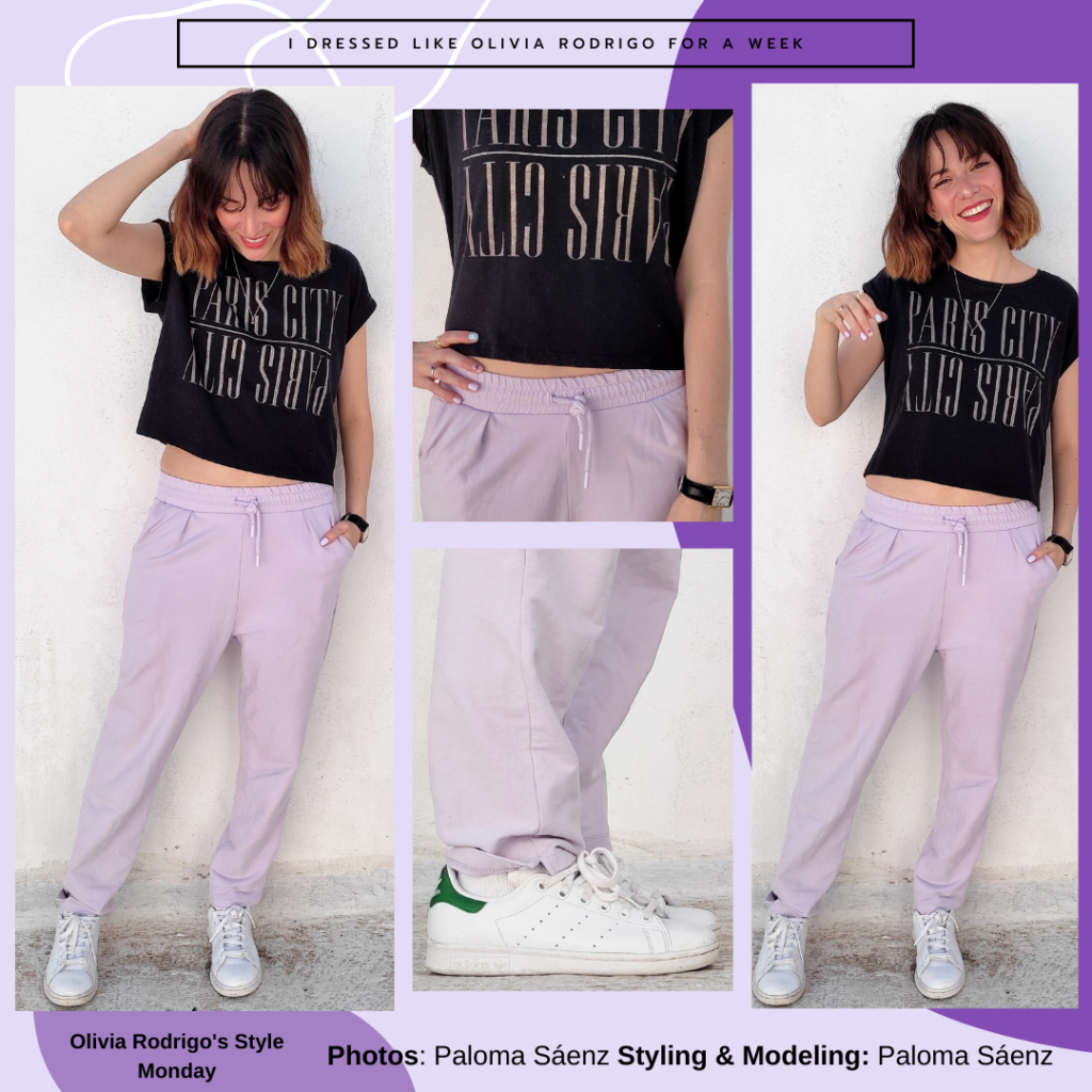 I dressed like Olivia Rodrigo for a week: Outfit with lavender joggers, white sneakers, black cropped graphic tee, watch, necklace