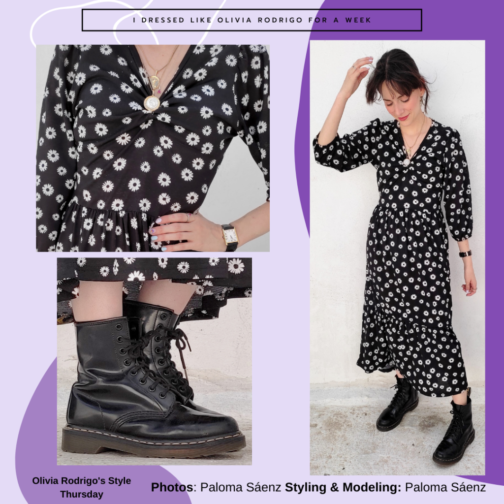 Outfit inspired by Olivia Rodrigo's style with printed long sleeve midi dress, Doc Martens, black watch and long necklace