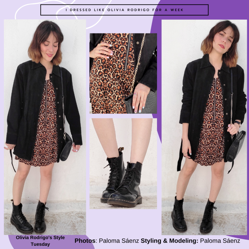 Olivia Rodrigo outfit with animal print dress, chunky combat boots, oversized button-down shirt in black, chain strap purse