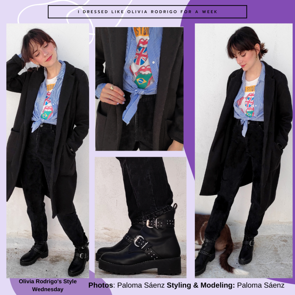 Outfit inspired by Olivia Rodrigo's style with black pants, chunky ankle boots, Rolling Stones graphic tee, blue striped shirt knotted at the front