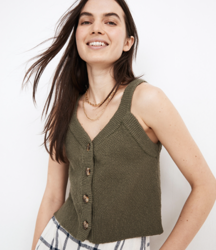 Button Front Sweater Tank Top