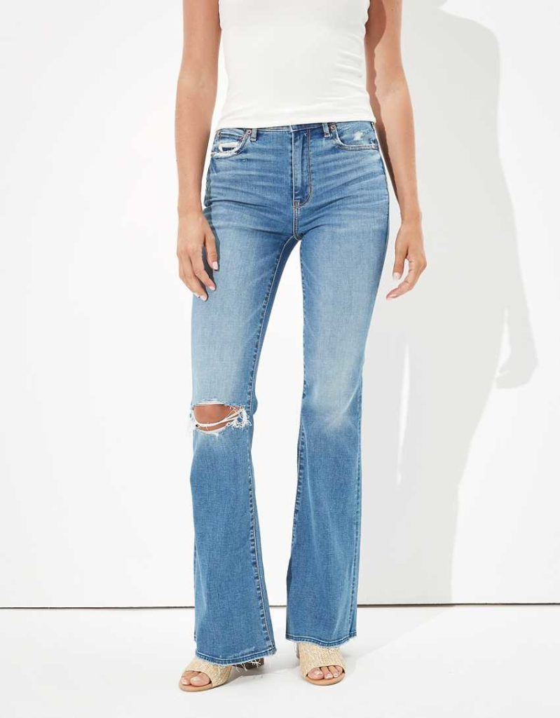 Medium wash ripped flare jeans from AEO