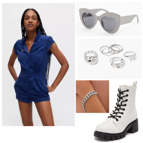 Cute outfit for college game day: Denim romper, white boots, silver jewelry, sunglasses