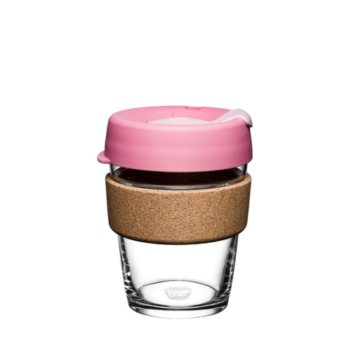 Reusable glass and cork coffee cup with pink spillproof lid