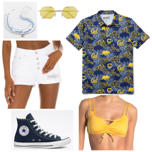 Cute college football game outfit: White shorts, yellow bikini top, hawaiian shirt with school colors, sunglasses, layered jewelry, converse