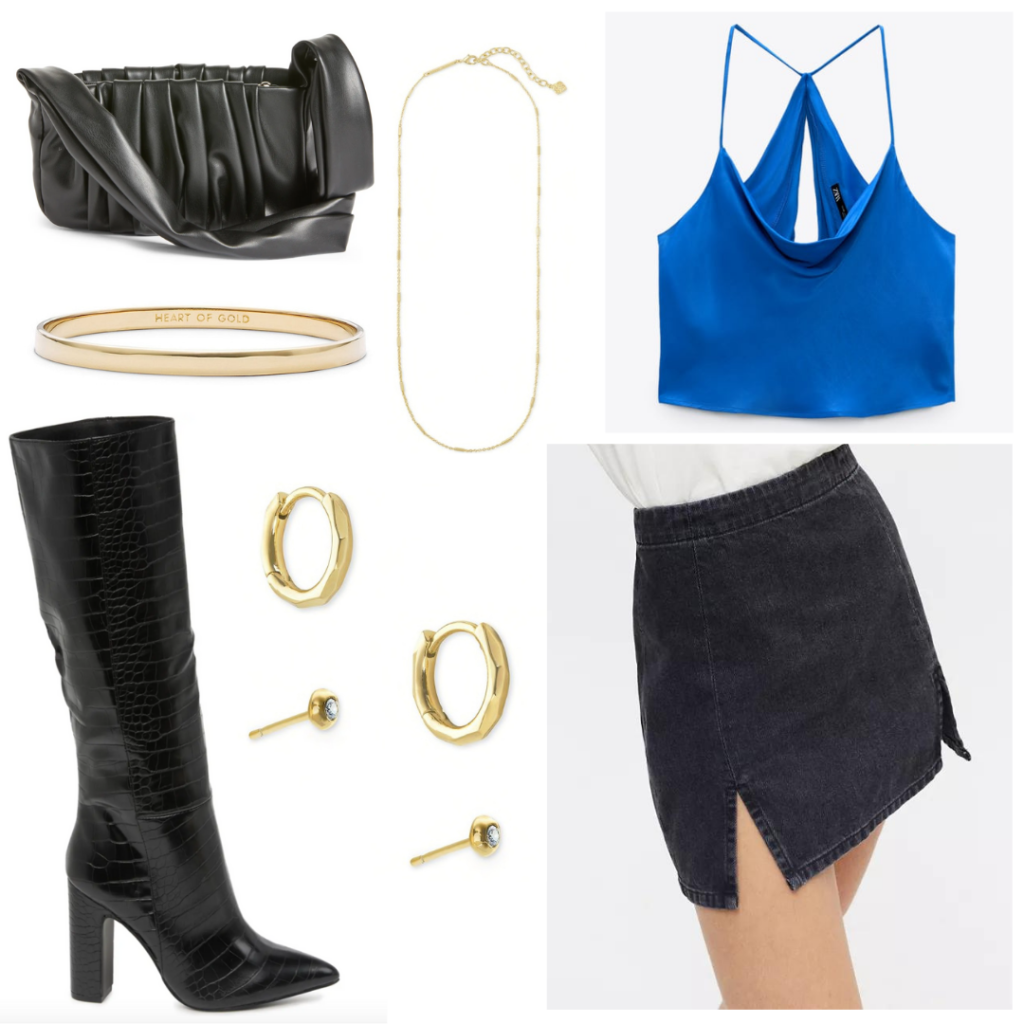 Cute bar outfit idea with knee high boots, black mini skirt, gold jewelry, blue satin cami crop top, black purse
