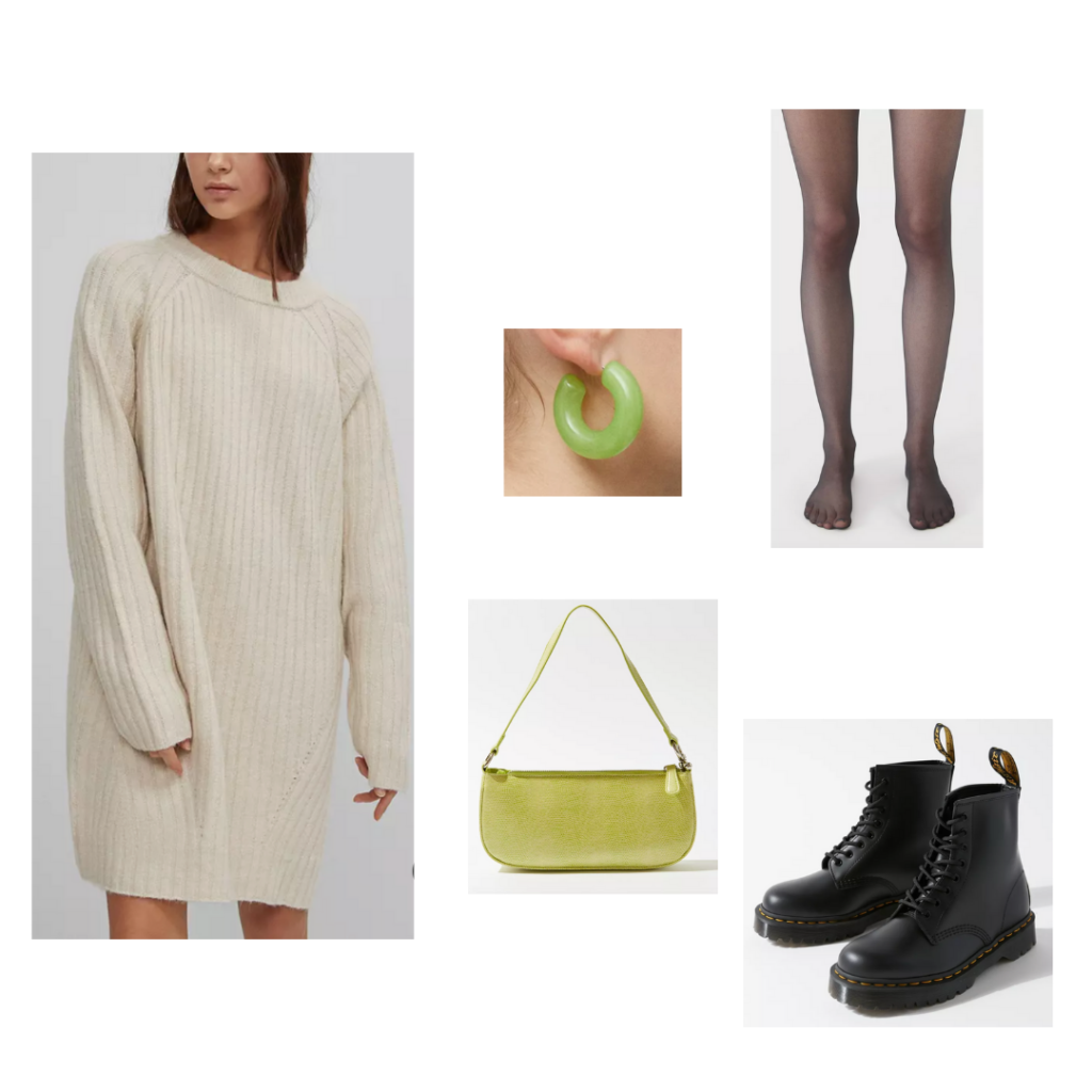 Fall outfit idea: Chunky knit sweater, sheer black tights, green chunky earrings, green mini purse, black combat boots