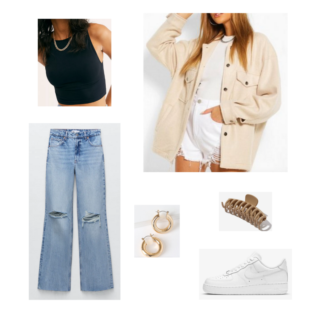 Cute outfits with jeans: Jeans outfit idea with wide leg ripped jeans, black crop tank, oversized beige shacket, gold hoop earrings, Nike Air Force 1s sneakers in white, and a claw clip in tan