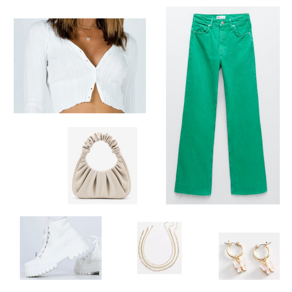 Cute outfit with colored jeans: Green wide leg jeans, cropped white cardigan, chunky white boots, layered gold necklaces, gold butterfly earrings, beige mini purse