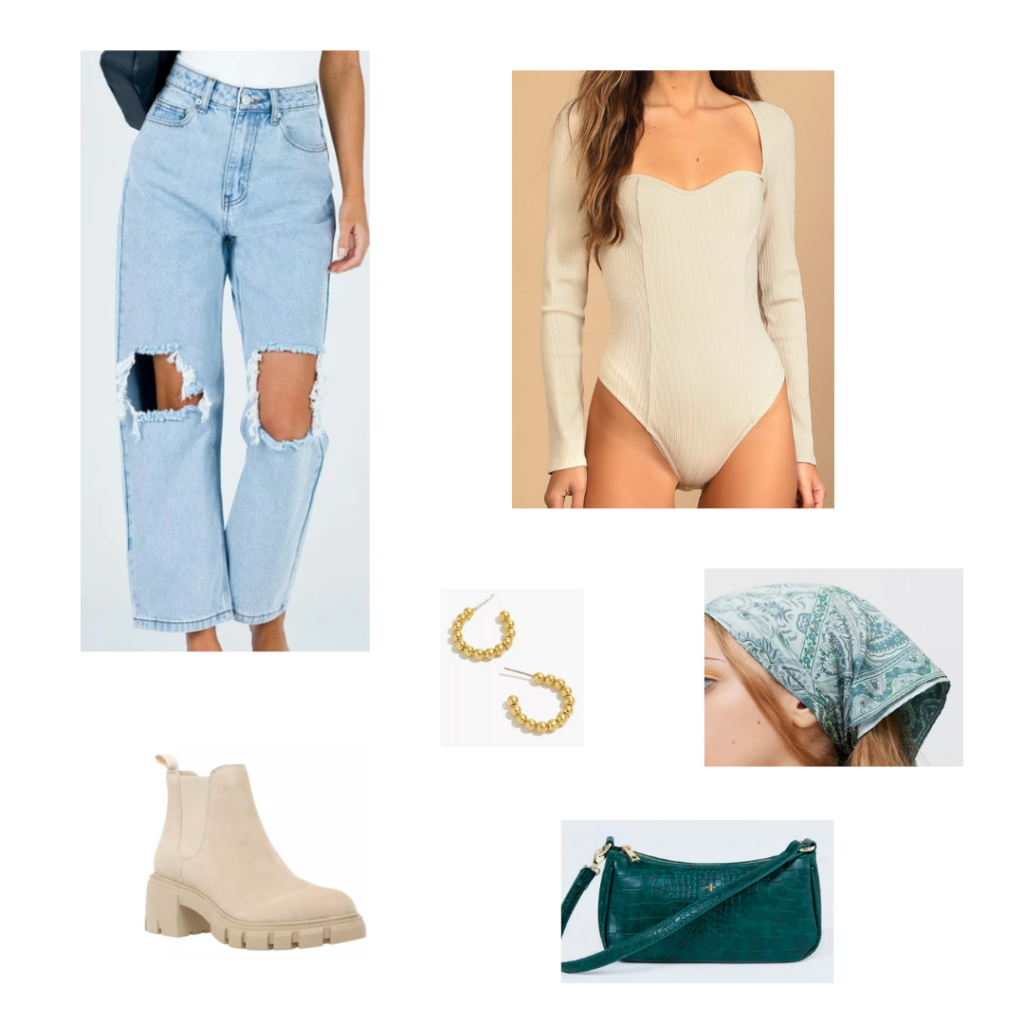 Cute outfit with distressed mom jeans, beige long sleeved bodysuit, beige chunky heel boots, teal mini purse, gold hoops, teal bandana