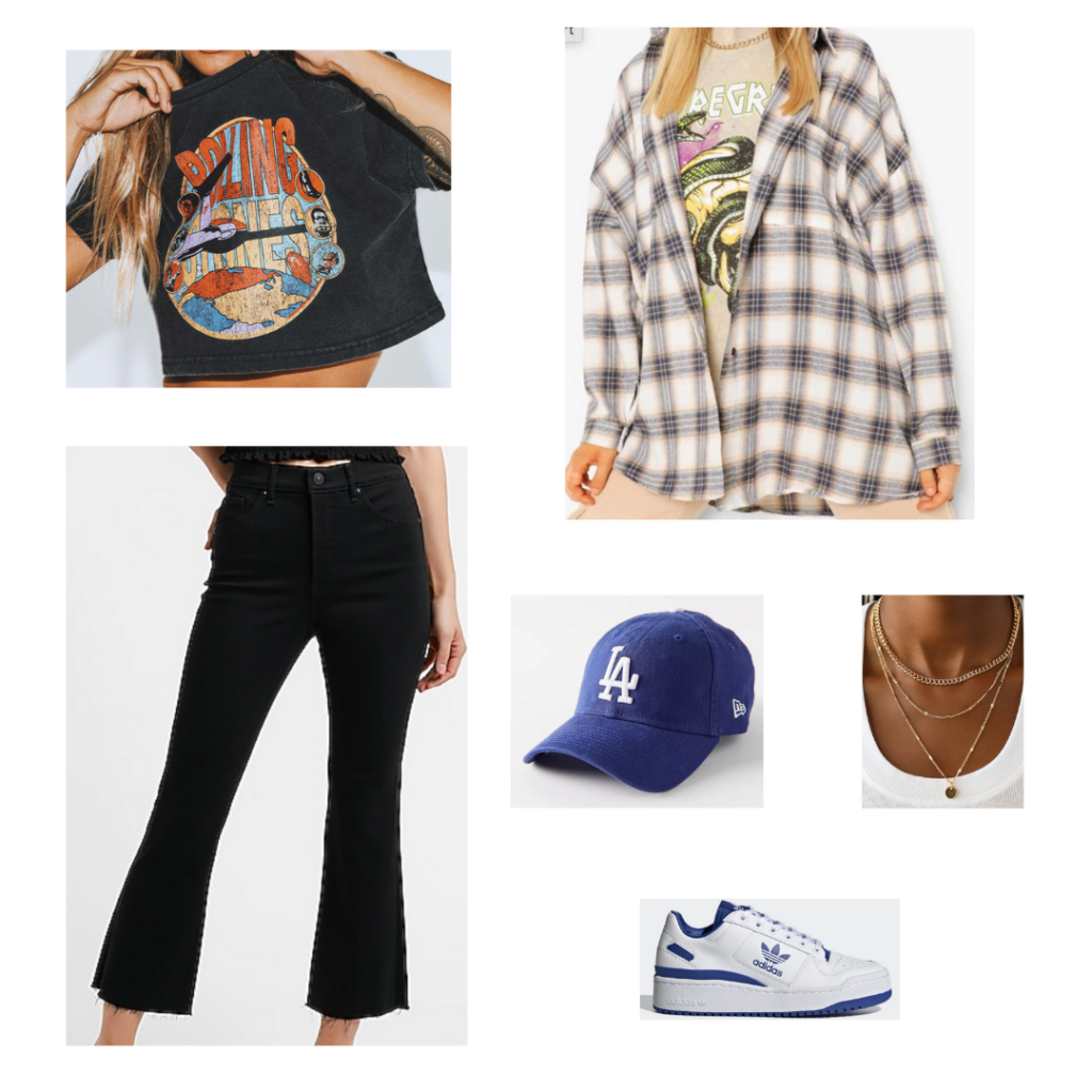 Cute outfits with jeans: Outfit idea with black cropped flare jeans, cropped band tee, oversized plaid shacket, LA dodgers baseball cap, white and blue adidas sneakers, layered gold necklaces
