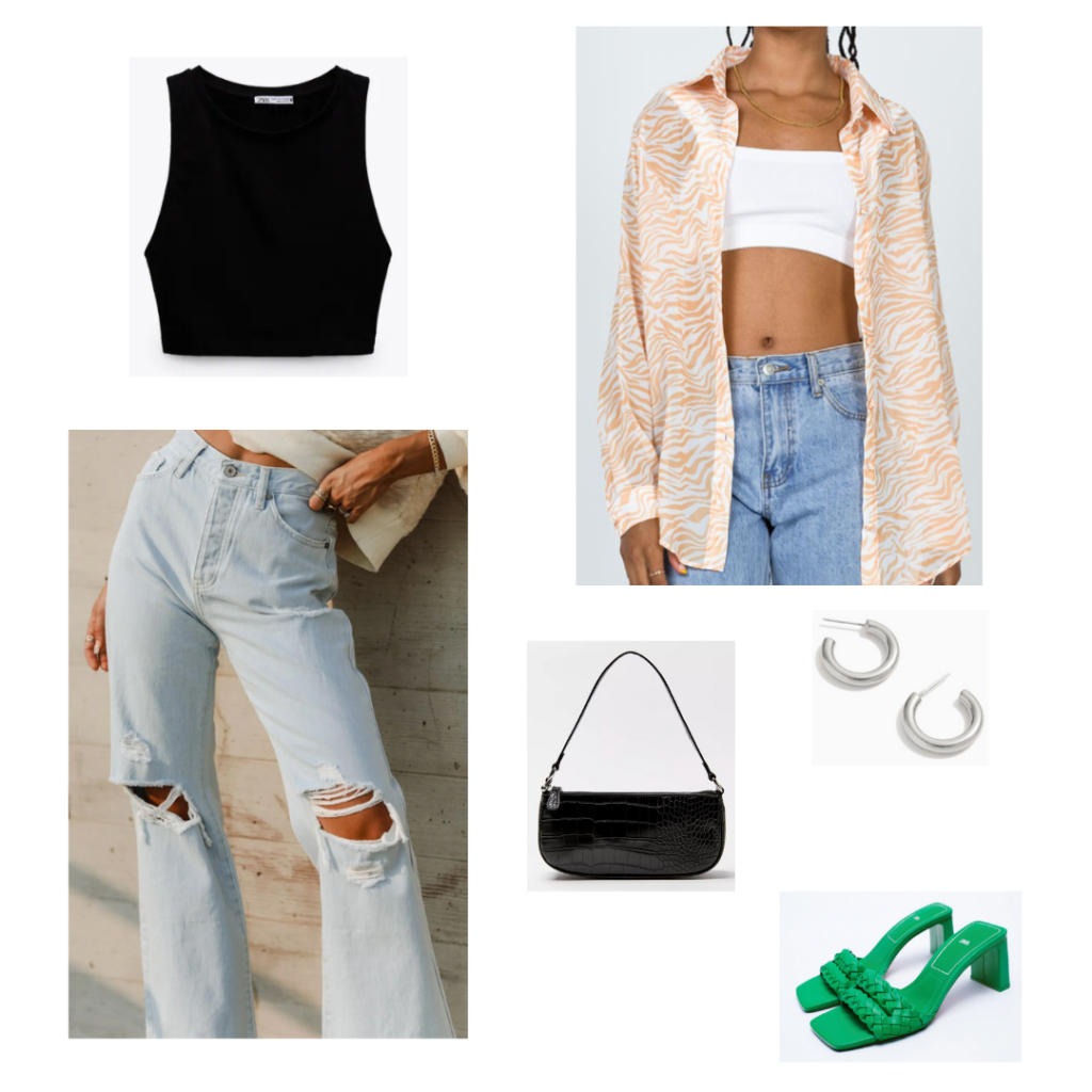 Cute outfit with light wash ripped wide leg jeans, black crop top, oversized orange and white button-down shirt, black mini bag, hoop earrings, green square toe woven slide heels