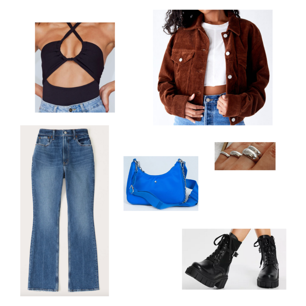 Cute outfit with jeans: Medium wash flare jeans, black tie neck bodysuit, rust corduroy jacket, silver rings, cobalt blue mini bag with chain strap, chunky black combat boots