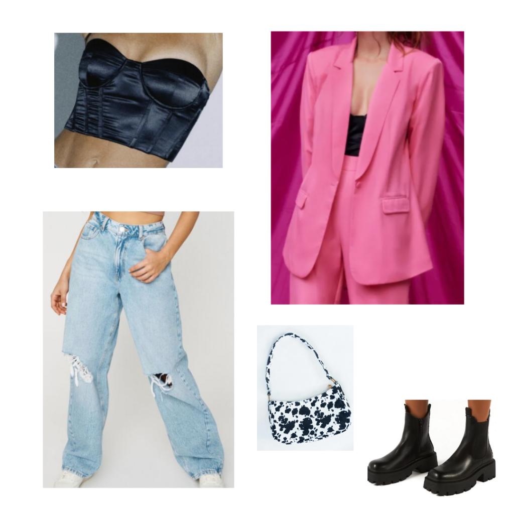 Wide leg jeans outfit with light wash ripped wide leg jeans, black satin bustier crop top, oversized pink blazer, cow print bag, chunky black boots